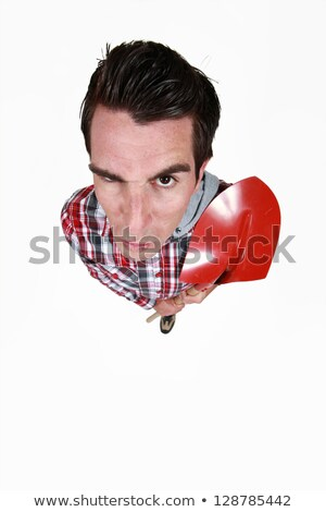 funny portrait of bricklayer with red shovel Stock photo © photography33