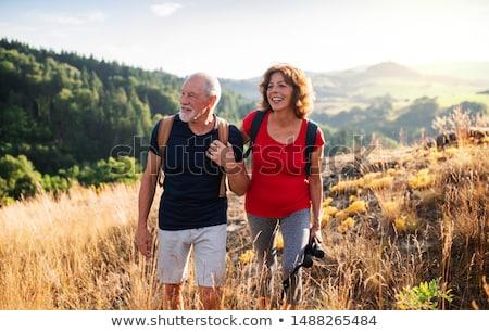 Idős emberek kirándulás fa mező sétál idős Stock fotó © photography33