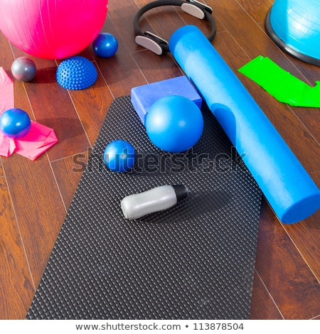 Aerobic Pilates stuff like mat balls roller magic ring Stock photo © lunamarina