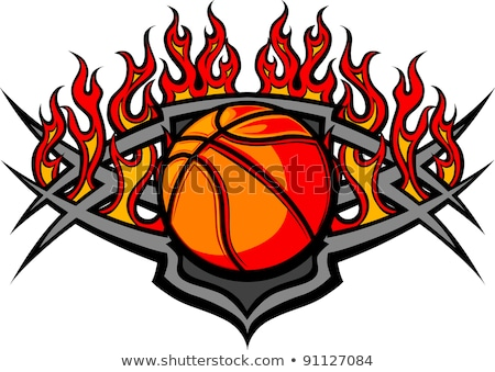 Basketball Template With Flames Vector Image Stock foto © ChromaCo