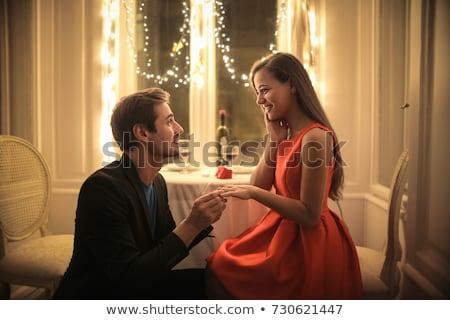 Propuesta joven amor compañera sonriendo alegría Foto stock © UrchenkoJulia