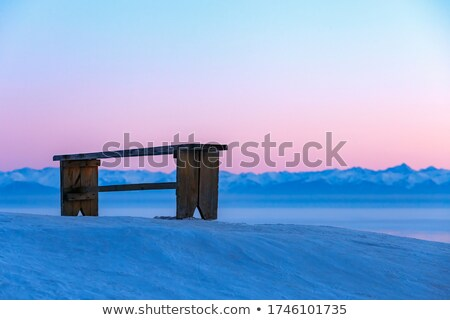 winter beach view and red benches Stock photo © morrbyte
