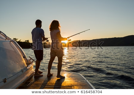 barco · pôr · do · sol · pacífico · lago - foto stock © photography33
