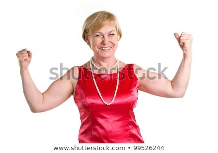 Witzig Porträt Frau Bizeps schönen jungen Stock foto © dash