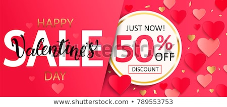 Stock photo: valentines day sale red circle banner with hearts symbols
