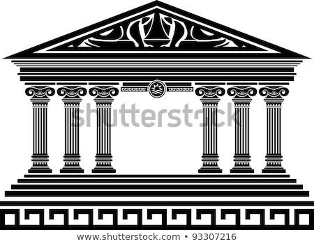 Foto stock: Antigo · templo · fachada · ilustração · isolado · branco