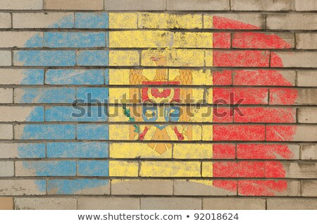 Flag Of Moldova On Grunge Brick Wall Painted With Chalk Foto stock © vepar5