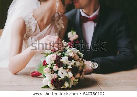 Stock fotó: Vőlegény · menyasszony · asztal · étterem · virágok · esküvő