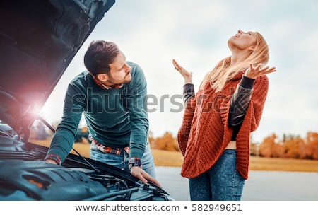 Car breakdown problems - woman hitchhiking Stock photo © Maridav