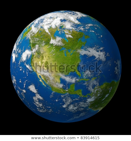 earth planet featuring north america on black stock photo © lightsource