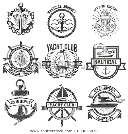 Logo yacht club oiseau pavillon Retour Photo stock © butenkow