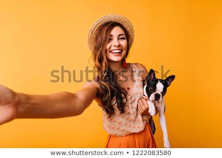 mulher · jovem · laranja · isolado · branco · menina · comida - foto stock © artjazz