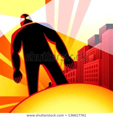 Hatalmas robot támadás emberi város naplemente Stock fotó © sahua