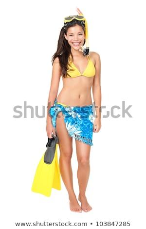 young beautiful woman isolated on white background wearing bikini stock photo © alexandkz