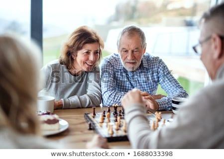 casal · jogar · xadrez · casa - foto stock © photography33