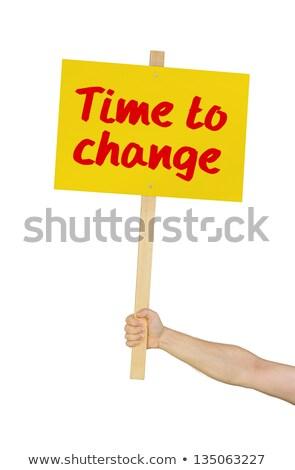 時間 · 変更 · ステッカー · 目覚まし時計 · を実行して · 白 - ストックフォト © zerbor