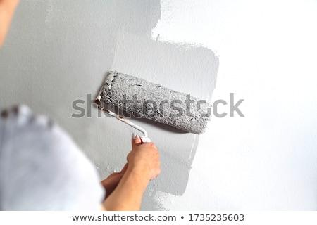 kıdemli · adam · boyama · duvar · ev · boya - stok fotoğraf © lighthunter