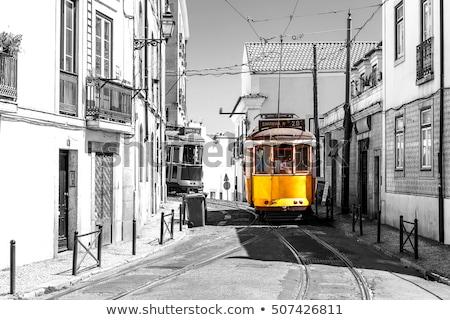 tramvay · dar · sokak · Lizbon · sarı · bölge - stok fotoğraf © vwalakte