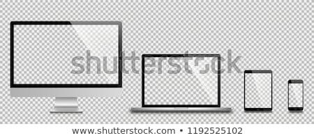 Izlemek 3d render siyah beyaz ekran ofis Stok fotoğraf © ajn