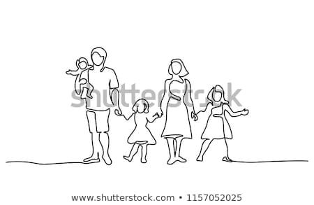 mutlu · aile · bir · çocuk · aile · bebek · sevmek - stok fotoğraf © egrafika