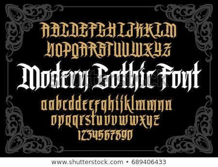Vector gothic font alphabet with decorations Stock photo © odes