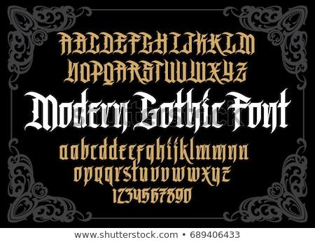 vektor · gótikus · betűtípus · ábécé · díszítések · textúra - stock fotó © odes