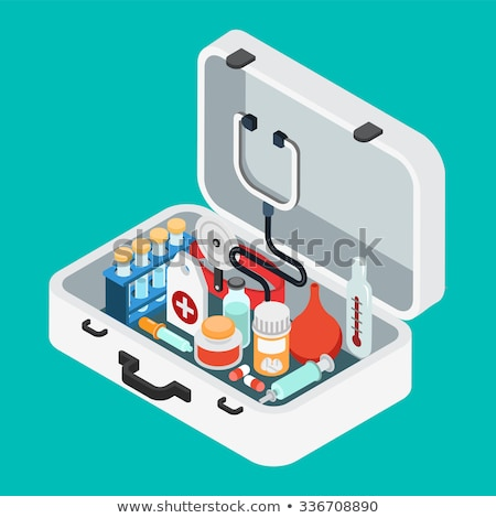 First aid kit with stethoscope and syringe Stock photo © Zerbor