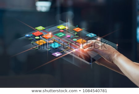 Vásárló digitális kék szín szöveg kommunikáció Stock fotó © tashatuvango
