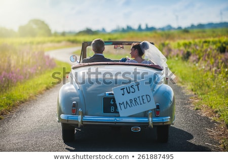 casamento · automático · buquê · de · casamento · carro · carros · casamento - foto stock © jonnysek