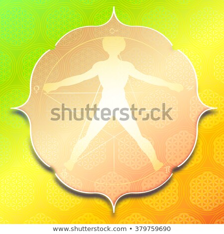 Stock photo: Vitruvian Man In Flower of Life