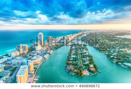 Miami tengerpart felhőkarcolók égbolt víz szépség Stock fotó © meinzahn