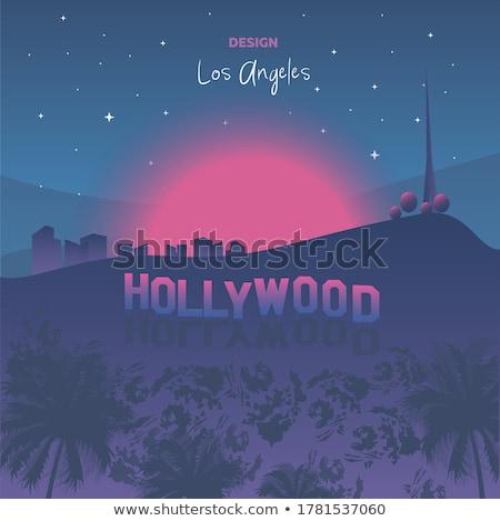 Gün batımı hollywood dağlar güneş manzara dağ Stok fotoğraf © meinzahn