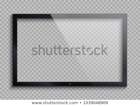 lcd · tv · parede · preto · tela · enforcamento - foto stock © smeagorl