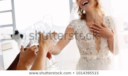 mooie · trouwjurk · cute · glimlachende · vrouw · gelukkig · bruid - stockfoto © lordalea