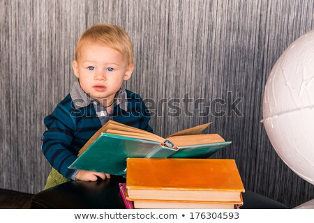 Adorable Curious Baby Boy With A Globe Foto d'archivio © Len44ik