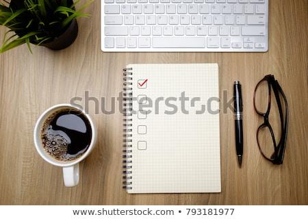 ノートパソコン チェックボックス 図書 コーヒー コンピュータ 図書 ストックフォト © jossdiim