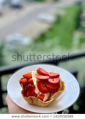 Vanilla ice cream  with wafer in cup on table Stock photo © manaemedia