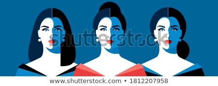 cartoon young woman in blue long evening dress stock photo © zebra-finch
