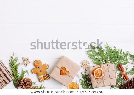 Navidad decoración nuez dorado estrellas blanco Foto stock © dariazu