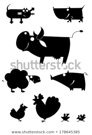 original vector art farm animal silhouettes stock photo © tikkraf69