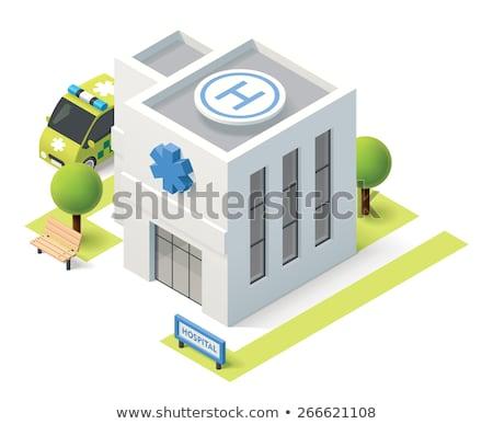Hospital Building And Ambulance 3d Illustration Stok fotoğraf © tele52