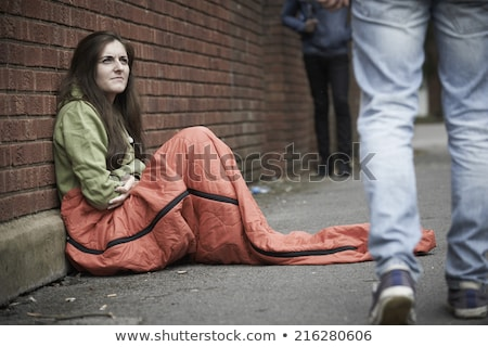 Vulnerable Teenage Girl Sleeping On The Street Stock photo © HighwayStarz
