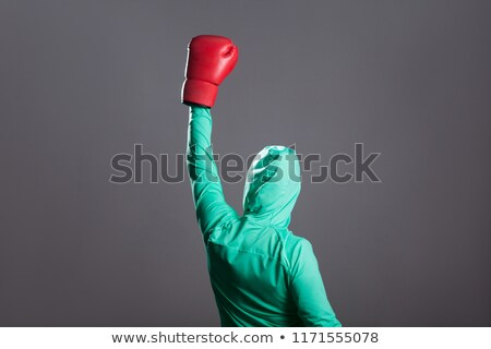 Woman in boxing gloves posing with her arms up Stock photo © cherezoff