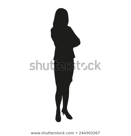 Kadınlık sevimli genç kadın ayakta beyaz elbise güzellik Stok fotoğraf © gromovataya