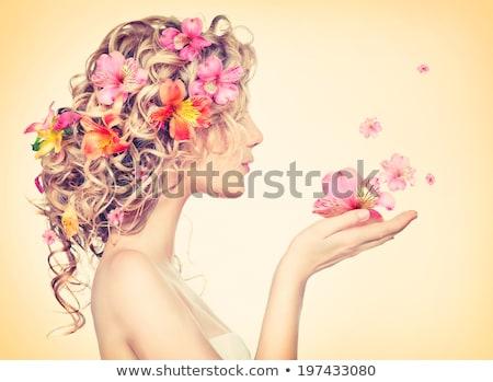 Virágok haj női arc feketefehér illusztráció Stock fotó © lineartestpilot