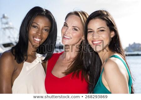 três · mulheres · posando · marina · porto · feliz - foto stock © BrazilPhoto