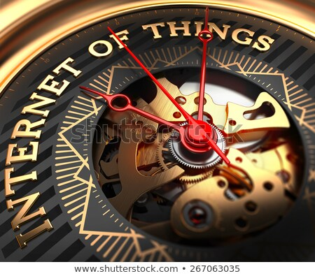 Foto stock: Internet Of Things On Black Golden Watch Face