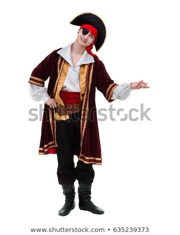 Stockfoto: Man · poseren · piraat · kostuum · pistool · geïsoleerd