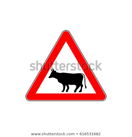 Road sign with cattle warning Stock photo © olandsfokus