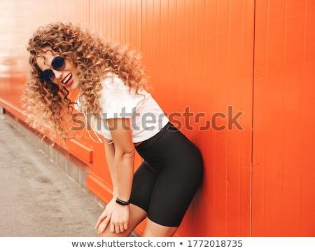 vrouw · lang · haar · roze · make · portret · mooie · vrouw - stockfoto © pawelsierakowski